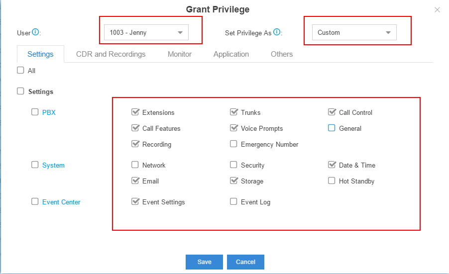 Grant Privilege to A Custom User by Checking the Boxes