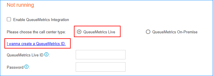 Apply Demo ID for QueueMetrics Live