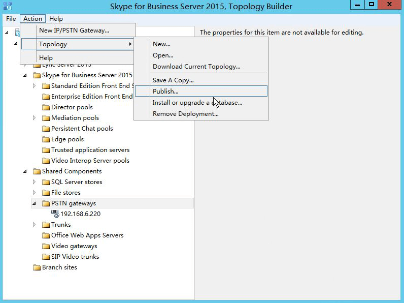 Publish the topology -Skype for business Server 2015