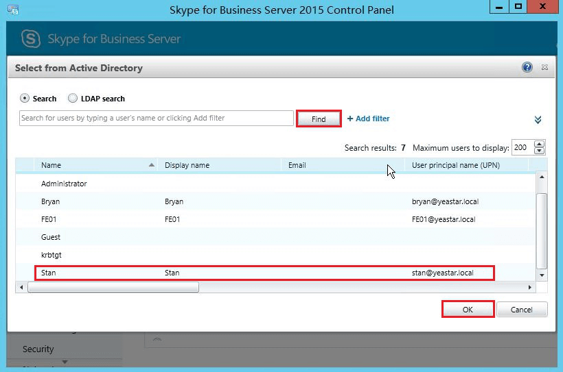 Enable user for Skype for business Server 2015