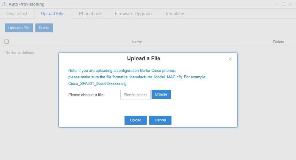 Upload configuration file