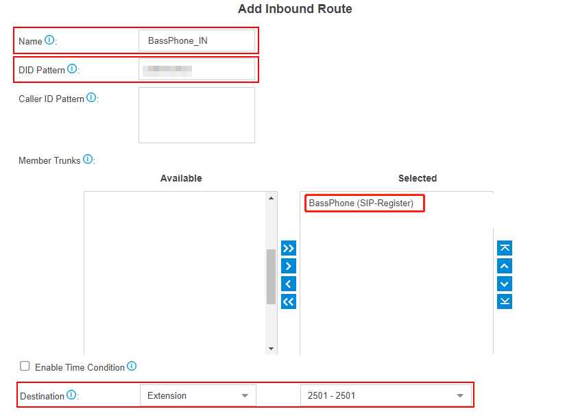 BassPhone add inbound routes