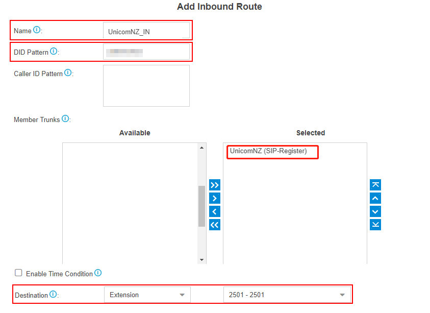 UnicomNZ add inbound route