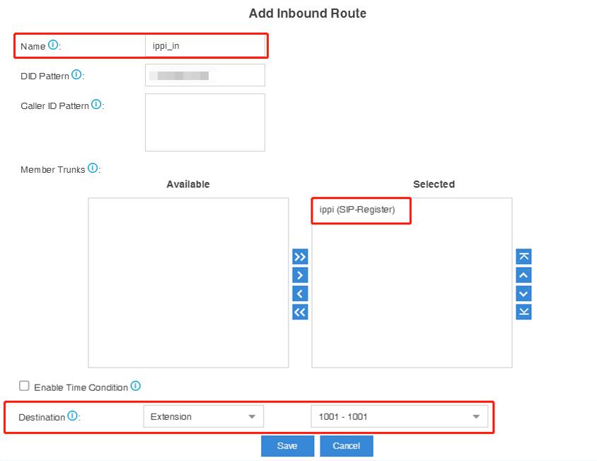 ippi inbound-route configuraion