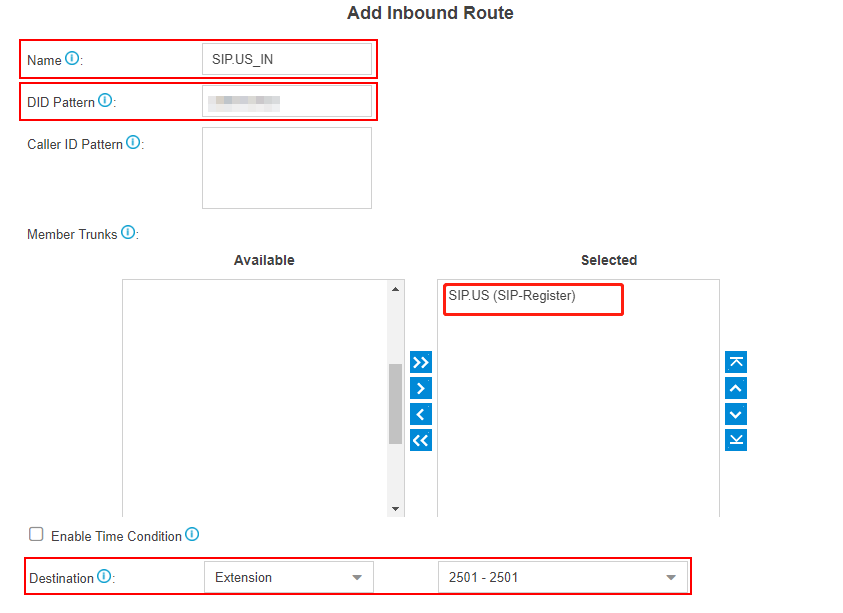 sipus add inbound route