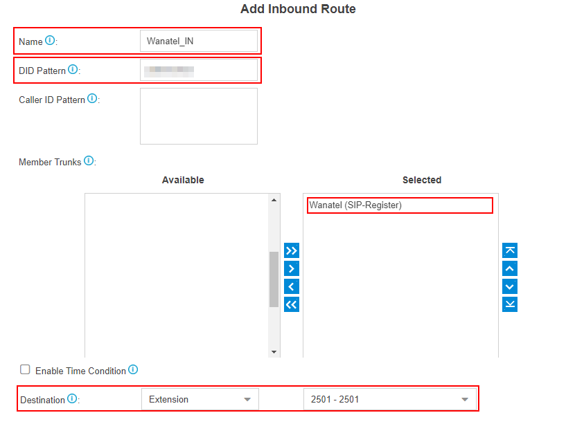 wanatel add inbound route
