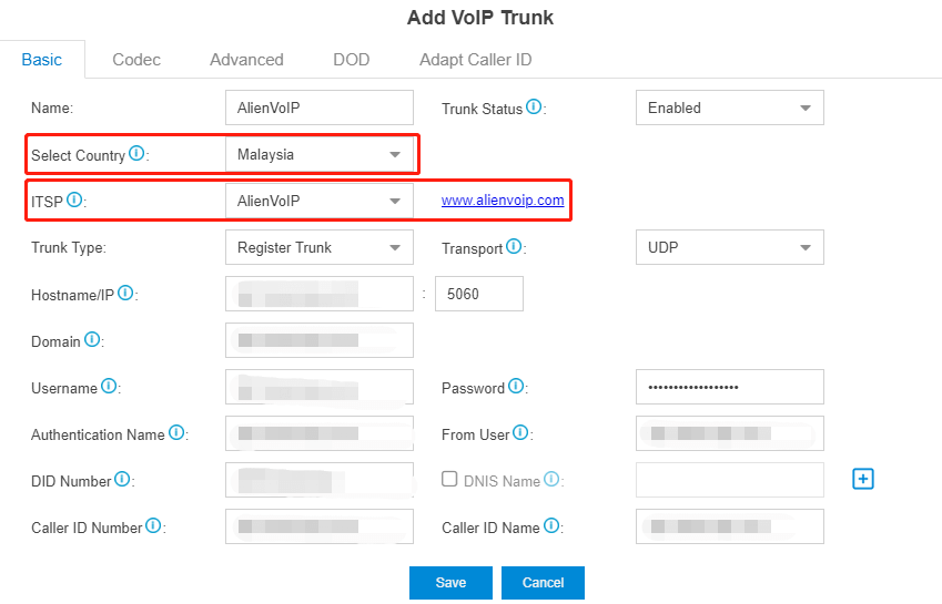 AlienVoIP add cloud trunk