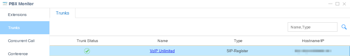 VoIP Unlimited trunk status