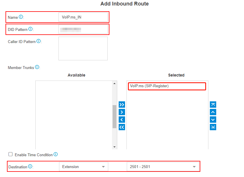 VoIP.ms add inbound route