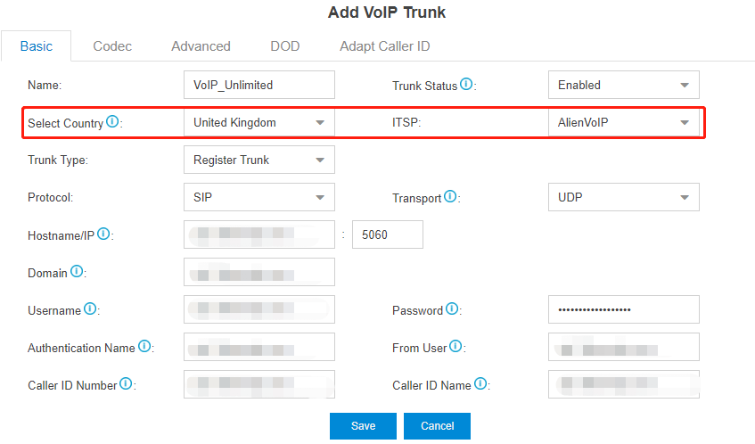 VoIPunlimited add s trunk