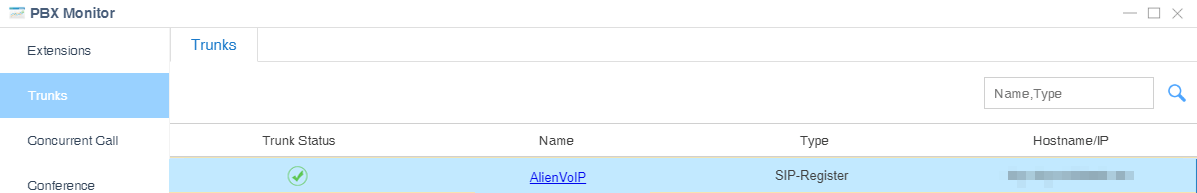alienvoip trunk status