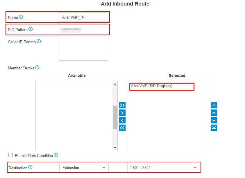 voipunlimited add inbound route