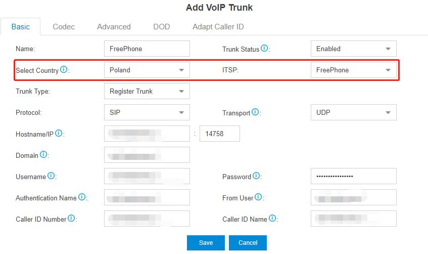 Configure the FreePhone trunk