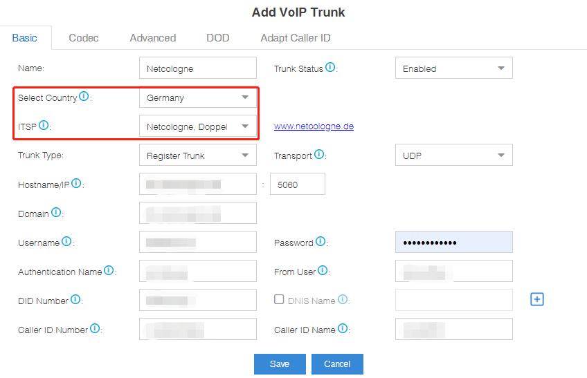 Add Trunk-Yeastar Cloud PBX with Netcolonge