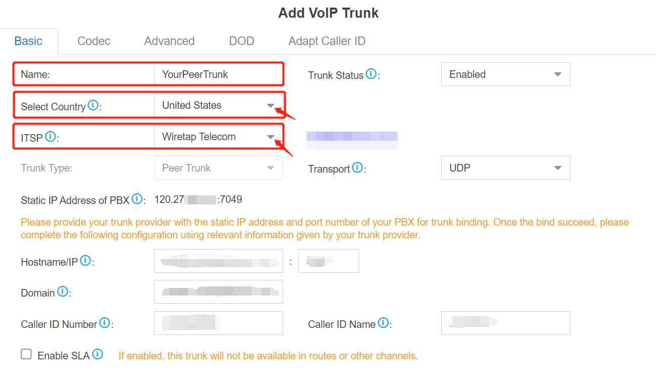 2. Choose ITSP - Yeastar Cloud PBX Peer