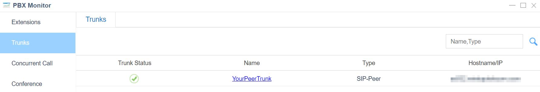 3. Check Trunk Status - Yeastar Cloud PBX Peer